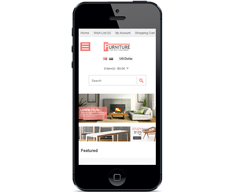 opencart furniture theme mobile view