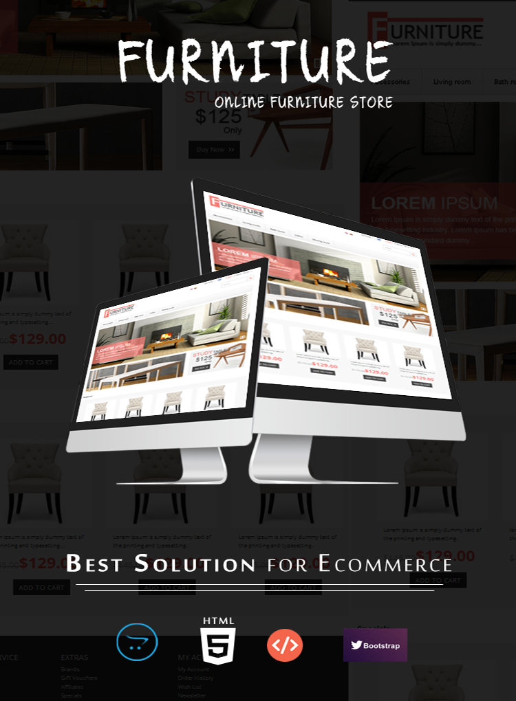 opencart furniture theme desktop view with featuers