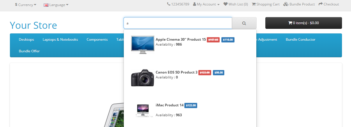 OpenCart search module shows product search result while typing