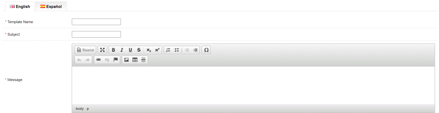 opencart email template created from admin