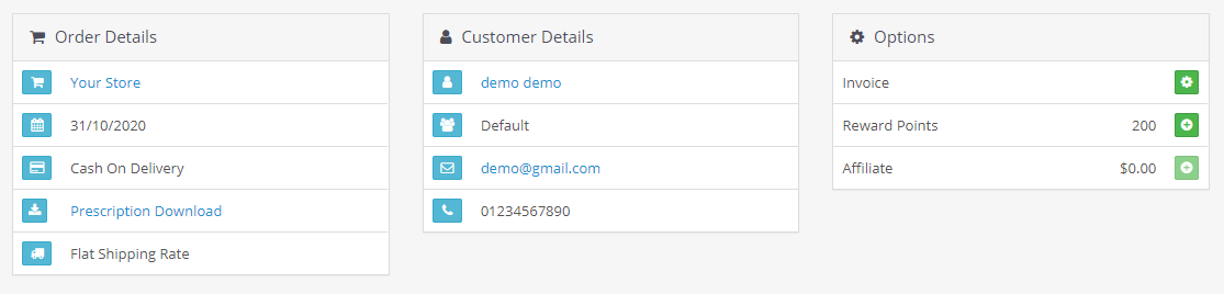 opencart order prescription module uploaded prescription shows in admin order detail