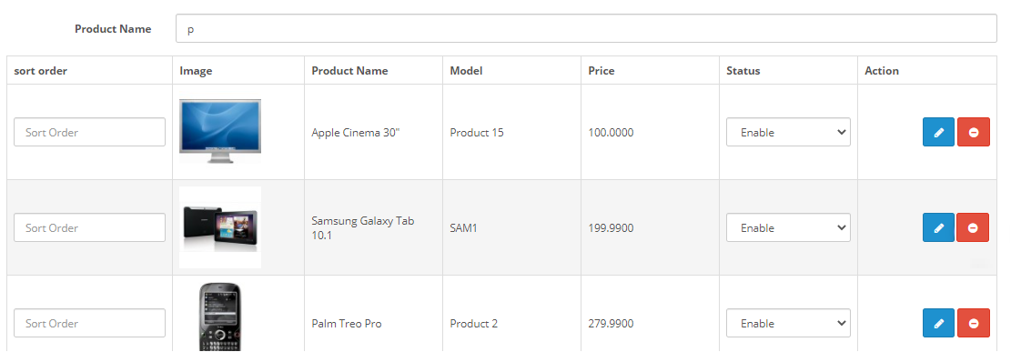 opencart product accessories admin adds accessories to main product