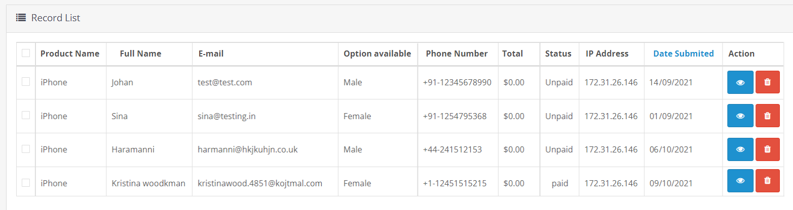 list of inquires made by customer through OpenCart form builder module