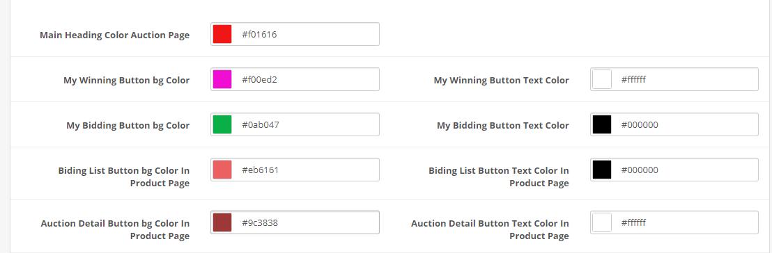 opencart auction module color setting