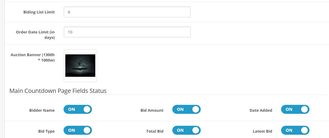 OpenCart auction Module general setting