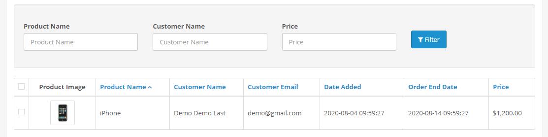 opencart auction module winner list information