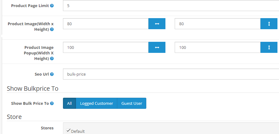 opencart bulk product list module general setting: image size, seo url, no. of product to dsiaply and more