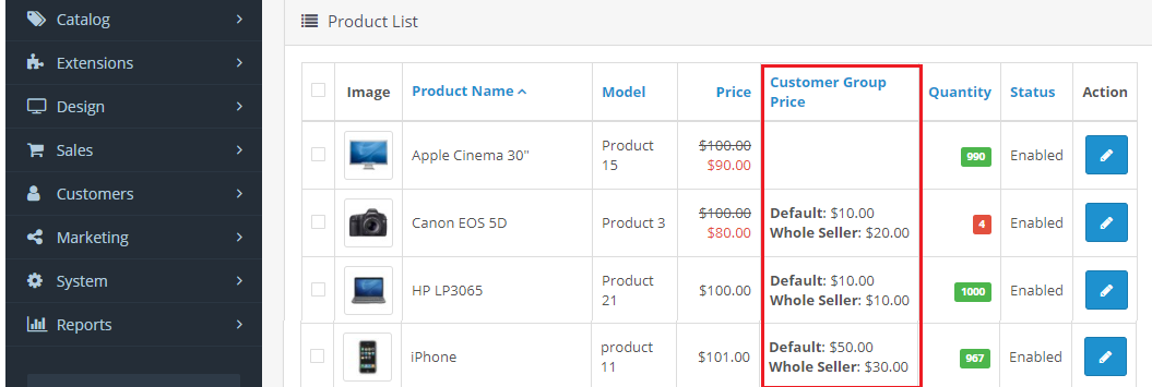 opencart customer group price product price edit