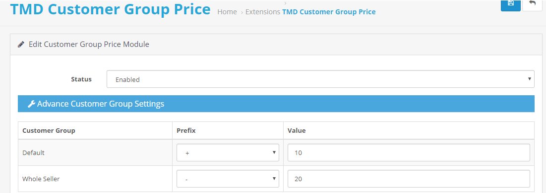 opencart customer group price setting
