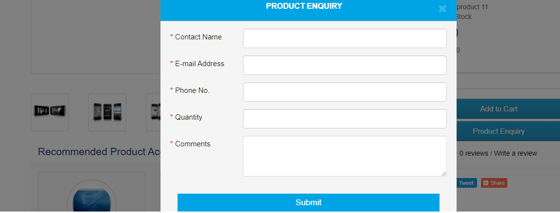 opencart product inquiry form popup