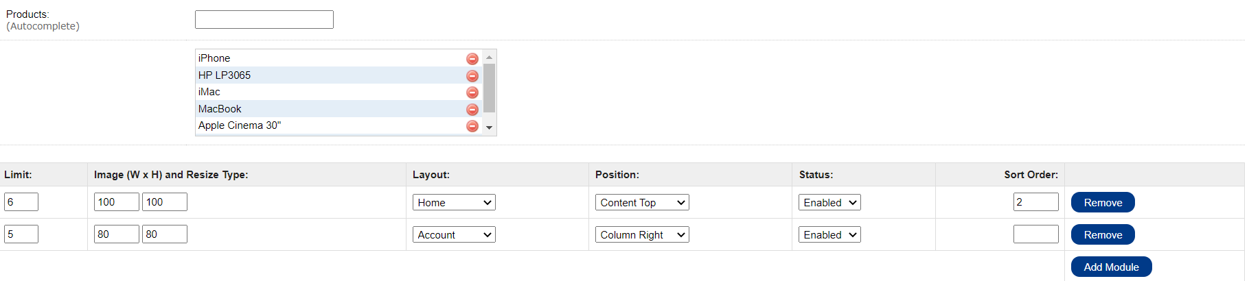 admin select feature category in layout setting in OpenCart
