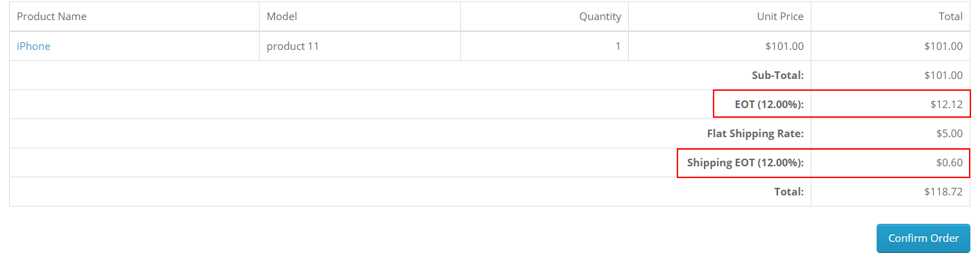 multiple taxes showing on checkout order detail in opencart