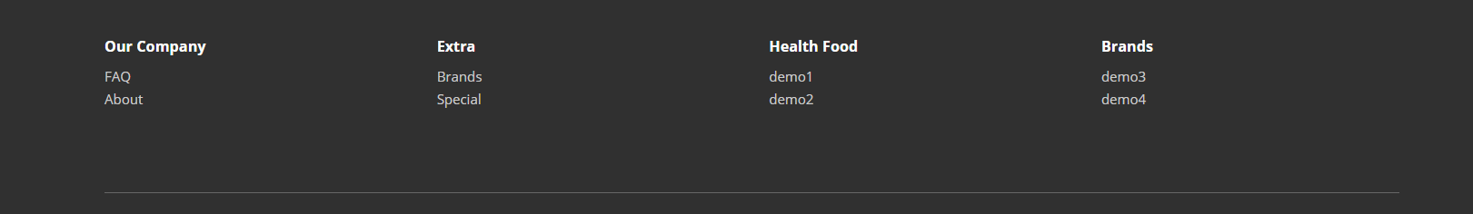 Menus shows with title in the footer in thw website of OpenCart 2.x version