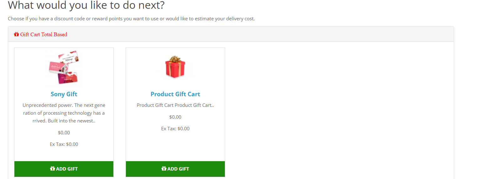OpenCart product gitfs showing for selction as gift on the shopping cart page