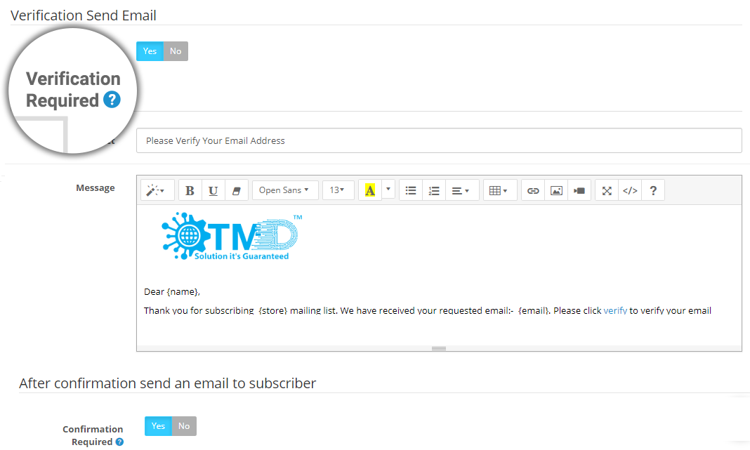 opencart newsletter module email sending setting