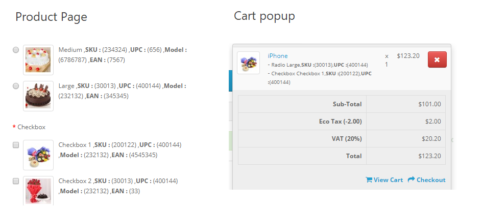opencart option pro modules shows option related data on product page