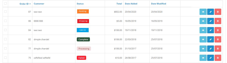 opencart order status color module admin sale order list