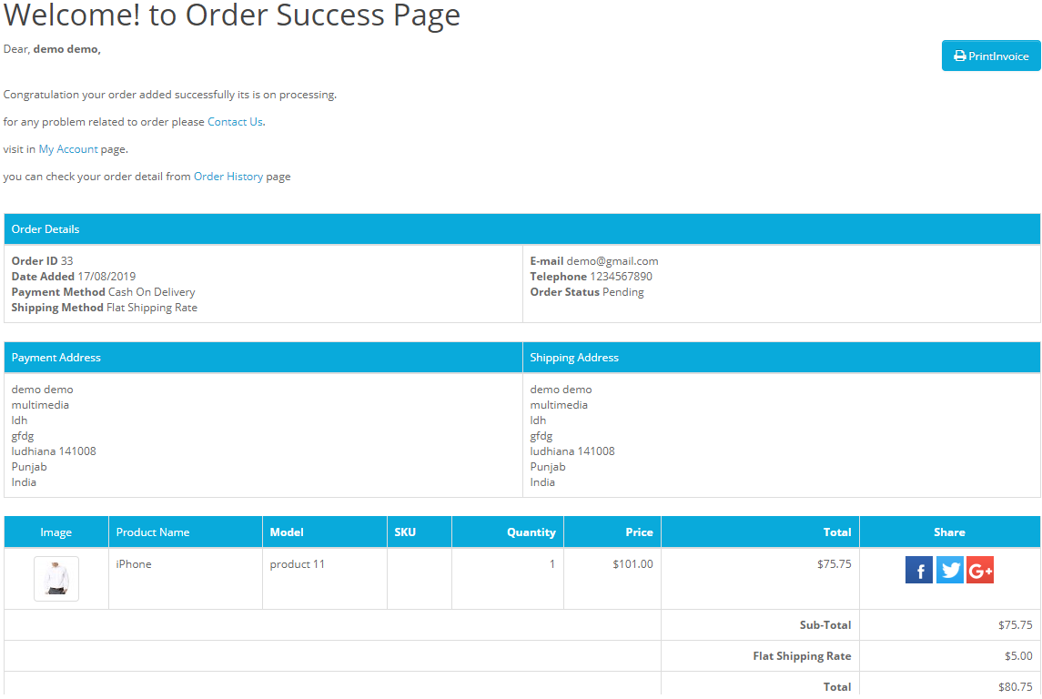 create your own opencart order success page - module