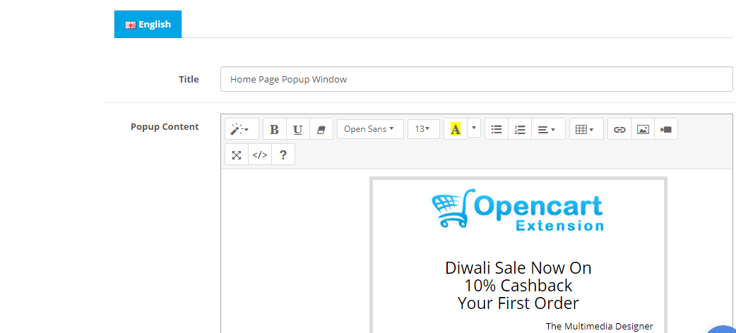 create designs all active languages in OpenCart popup module