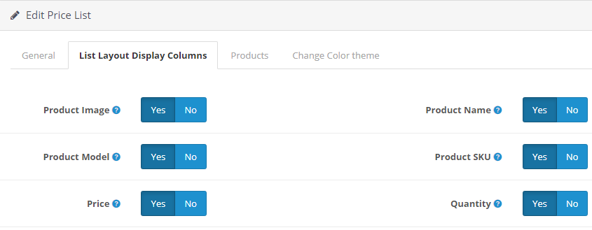 opencart product price list module filter admin setting layout and color