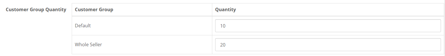 opencart product quantity by customer group in admin