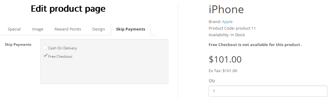 select payment method in product page opencart skip payment method extension