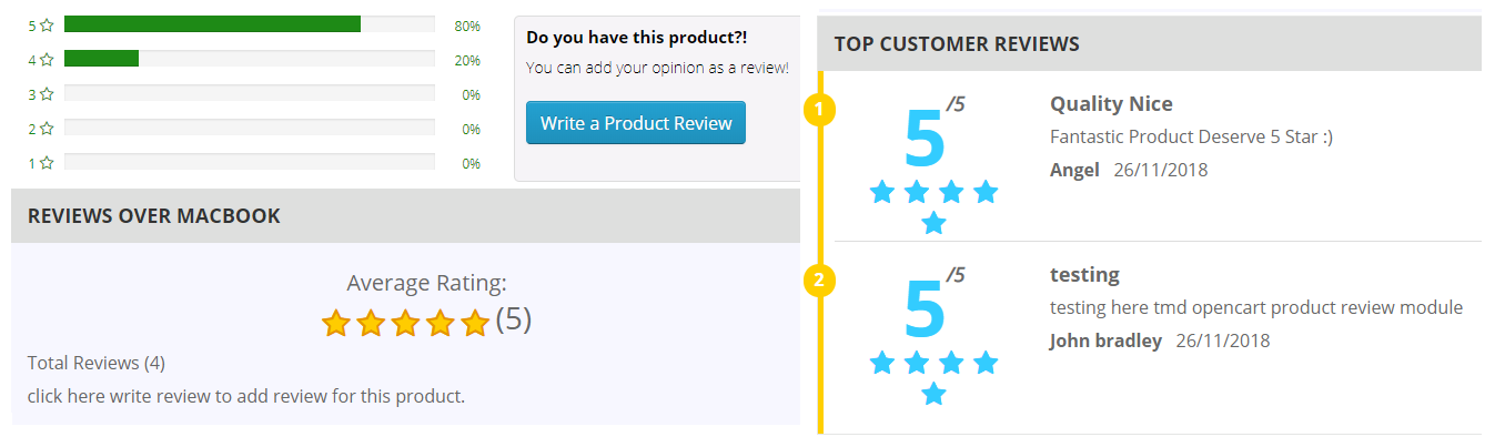 opencart product review extension display review like pro