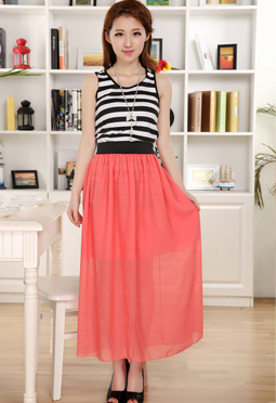 peach long skirt